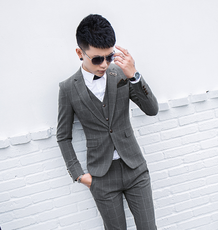Collection of color Plaid suit for men and Korean version of slim three piece suits youth British casual bridegroom Wedding Bridesmaid fashion