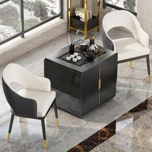 移动茶台家用小茶车轻奢可折叠功夫茶桌多功能阳台火烧石茶几桌椅