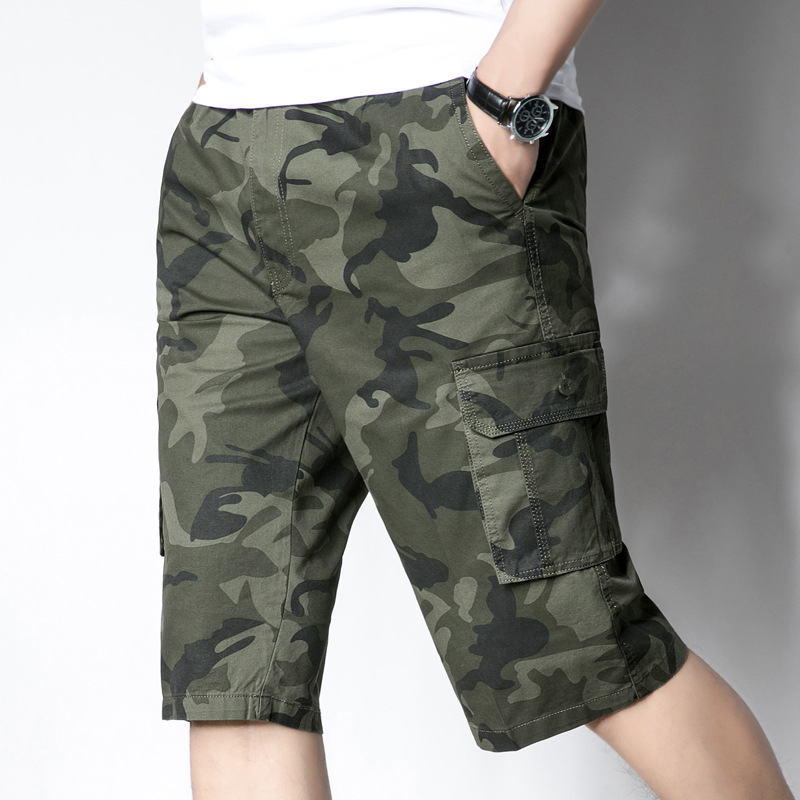 Capri pants casual solid color large dad summer mens middle-aged mens camouflage cotton 7-point shorts pure cotton mens loose