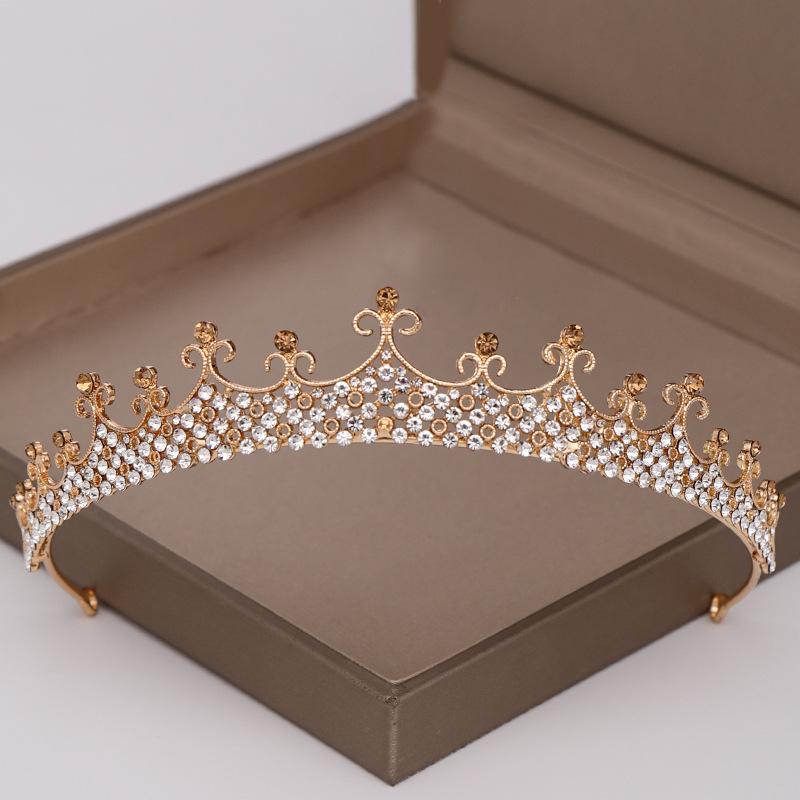 儿童发饰巴洛克发箍 公主皇冠走秀演出发饰表演王冠头饰奢华水晶