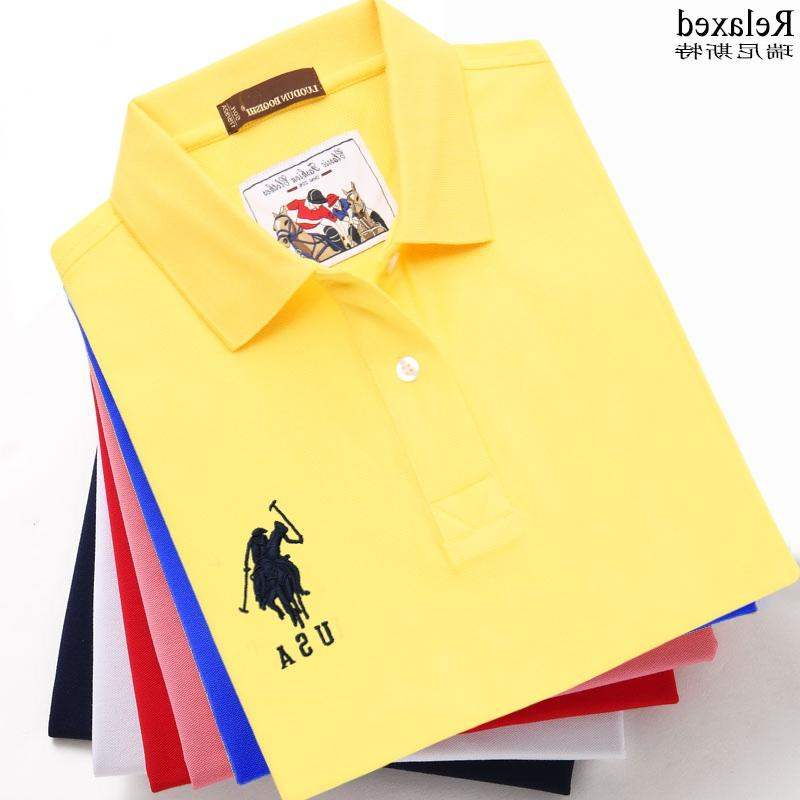 Counter Summer Cotton Short Sleeve T-Shirt Lapel brand mens Polo T-shirt USA embroidered polo collar