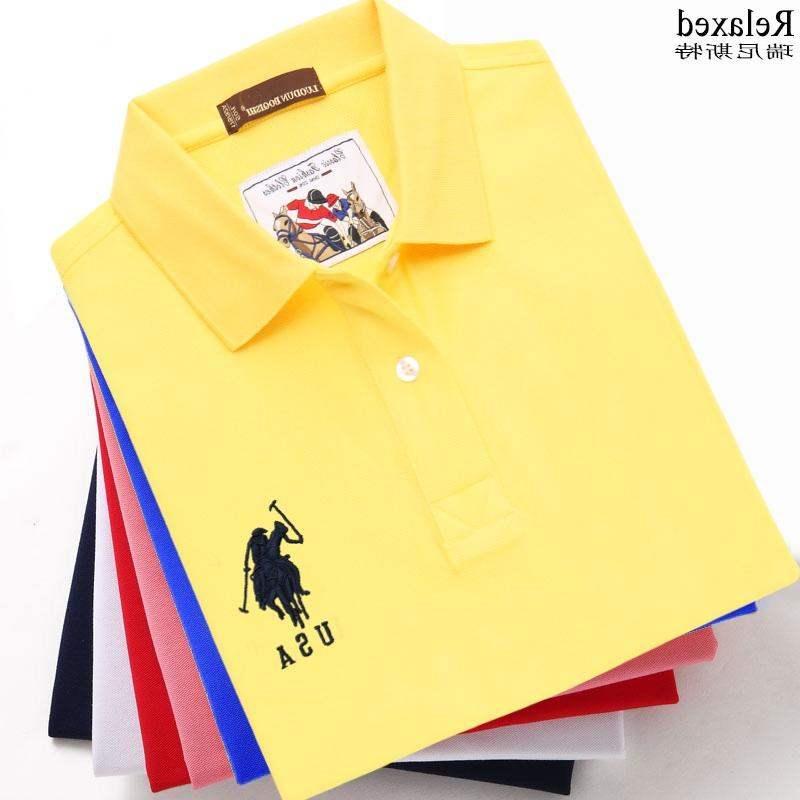 Counter Summer Cotton Short Sleeve T-Shirt Lapel brand mens Polo T-shirt USA embroidered polo collar