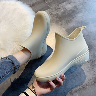 女短筒雨靴保暖加绒水鞋 雨鞋 低帮水靴防滑洗车买菜厨房鞋 日系时尚