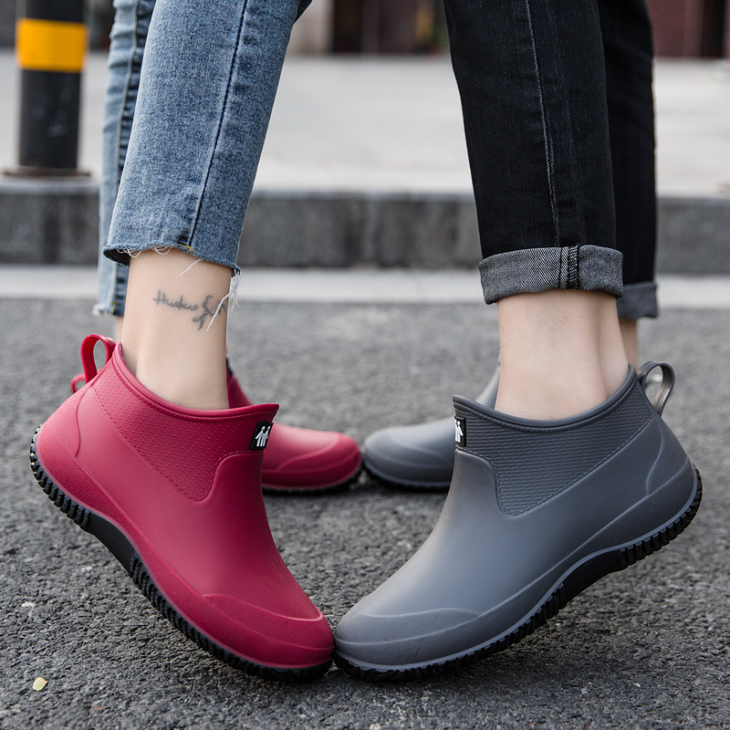 Winter rain boots, women's short rain boots, warm and velvet waterproof shoes, men's water boots, low-cut non-slip kitchen shopping, fishing shoes
