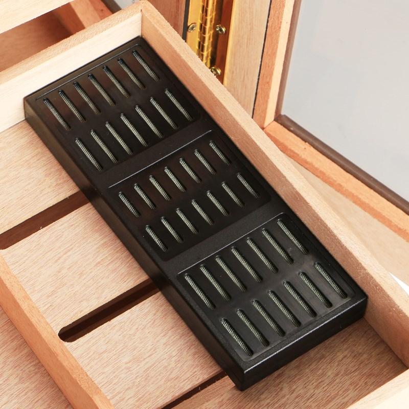 玻璃雪茄盒保湿箱古巴雪松木花梨木进口透明展示柜 保湿箱保湿柜 Изображение 1