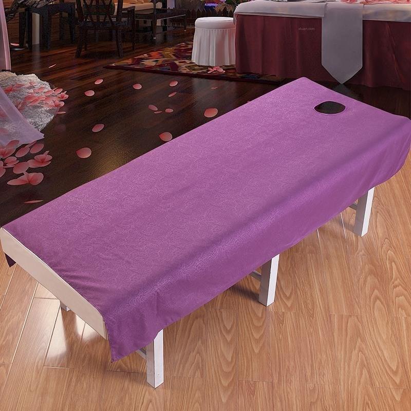 纯棉美体按摩床单带洞单子用品纯白单人床单件图案美容院酒店清爽