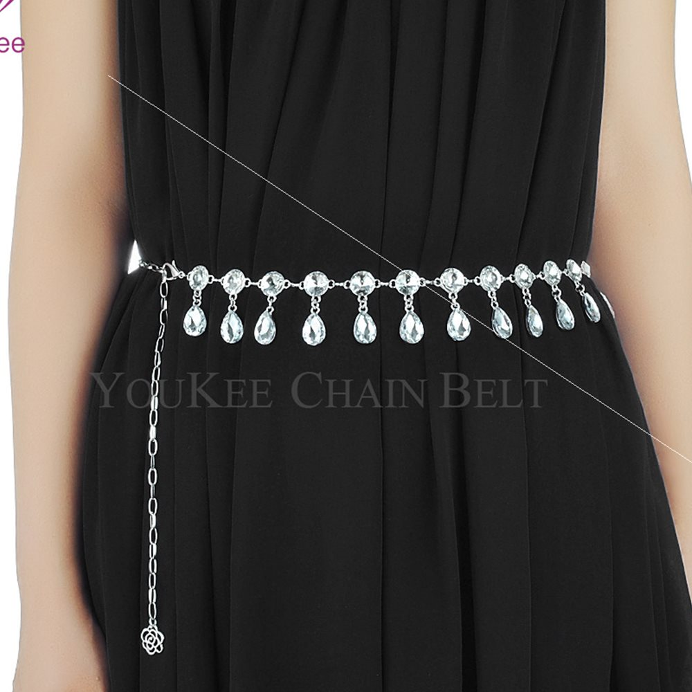 Special price package mail waist chain belly dance Navy dance womens alloy gem face water dripping diamond popular crystal waist chain