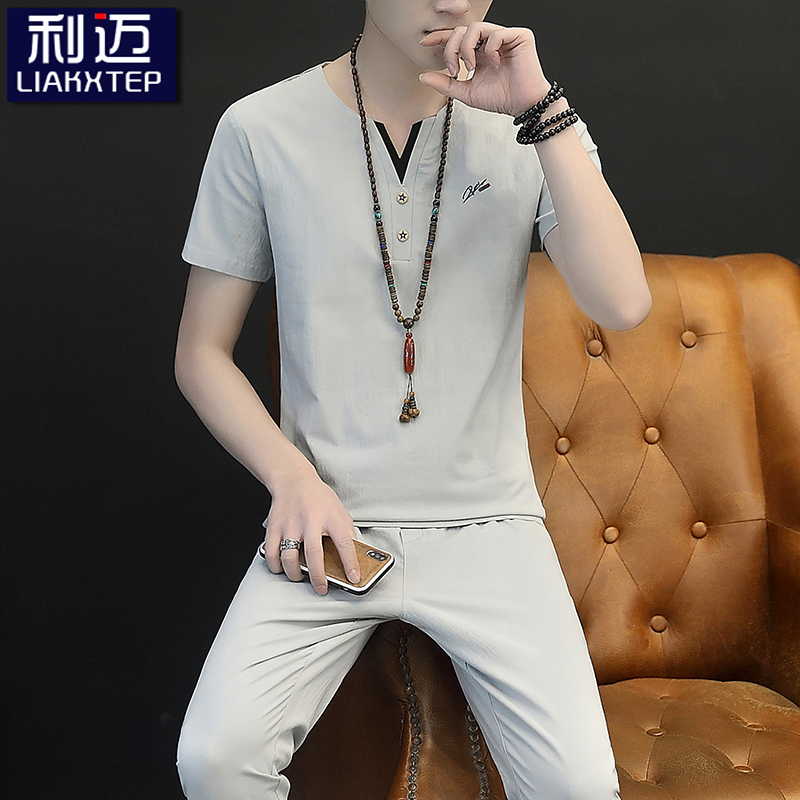 Summer linen suit mens China fashion brand short sleeve t-shirt mens leisure trend cotton hemp two-piece suit summer T-shirt
