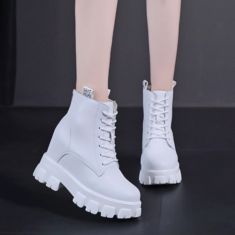 White Martin boots womens summer thin and increased short summer boots childrens short boots womens spring and autumn single boots fashion high heels