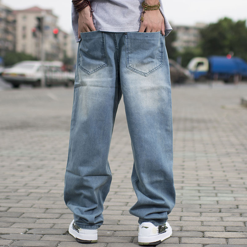 。 Spring and autumn mens fat straight jeans plus extra large mens jeans jeans mens youth skateboarding pants
