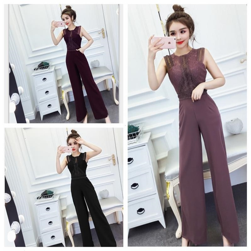 One piece pants womens summer dress new suit celebrity temperament sexy lace stitching back hollowed out wide leg pants