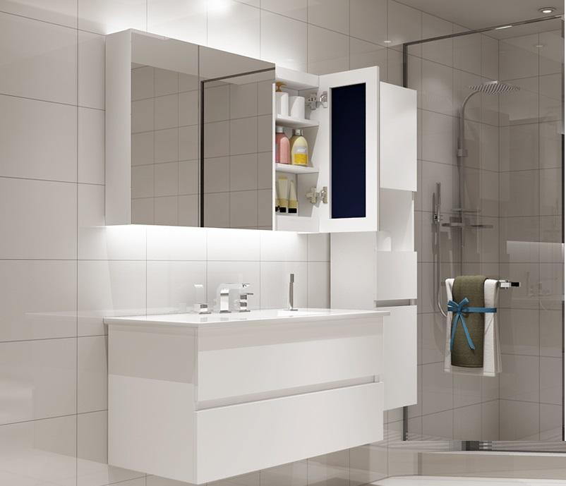 买三送一北欧智能简约现代浴室柜组合卫生间洗漱台卫浴柜洗手盆洗脸盆柜