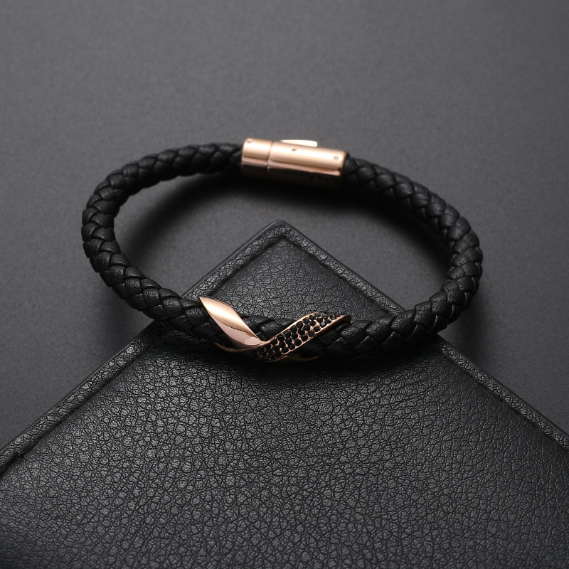 Pearl Bracelet Leather Mens Diamond Jewelry Bracelet Stainless Steel flash hemp rope transport 8 woven crystal