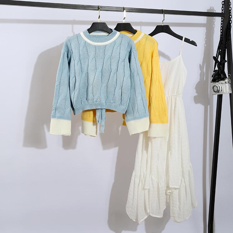 2019秋冬新款套裝衛衣針織衫大碼女裝牛仔外套時尚套裝減齡顯瘦