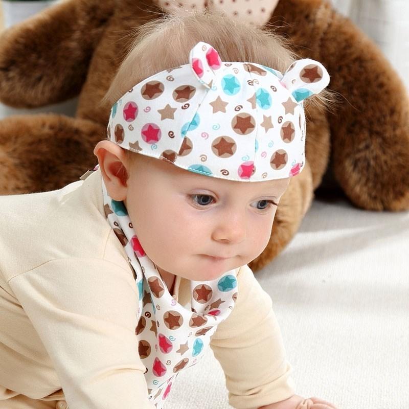 婴儿护卤门帽空顶胎帽子女宝宝夏天薄款新生儿春季男遮脑门心夏季