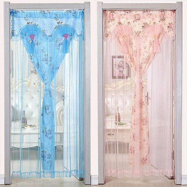 婚房网纱少女门帘双层隔断帘单门卧室室内家用半截布艺装饰帘寝室