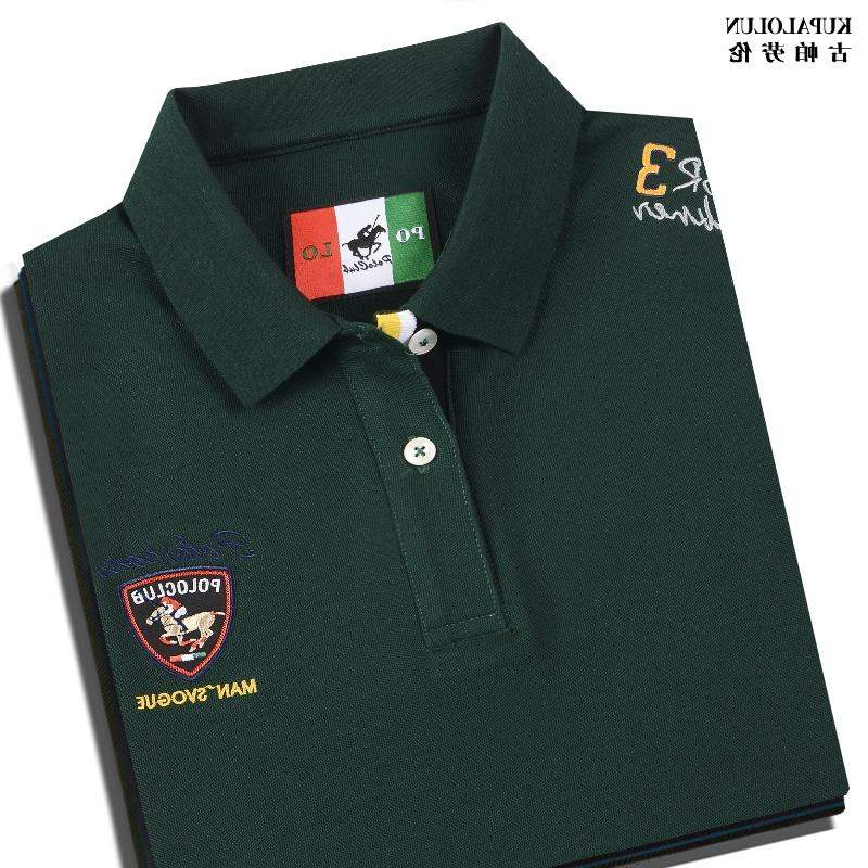 High end high end short sleeve Paul shirt dark green cotton t-shirt mens Polo embroidery casual wear summer Po