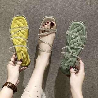 2020夏季新款时装凉鞋女鞋平底套趾水钻塑胶平跟2020年春季