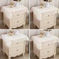 蕾丝卧室简约盖布欧式装饰洗衣机床头柜微波炉垫子白色遮布冰箱巾