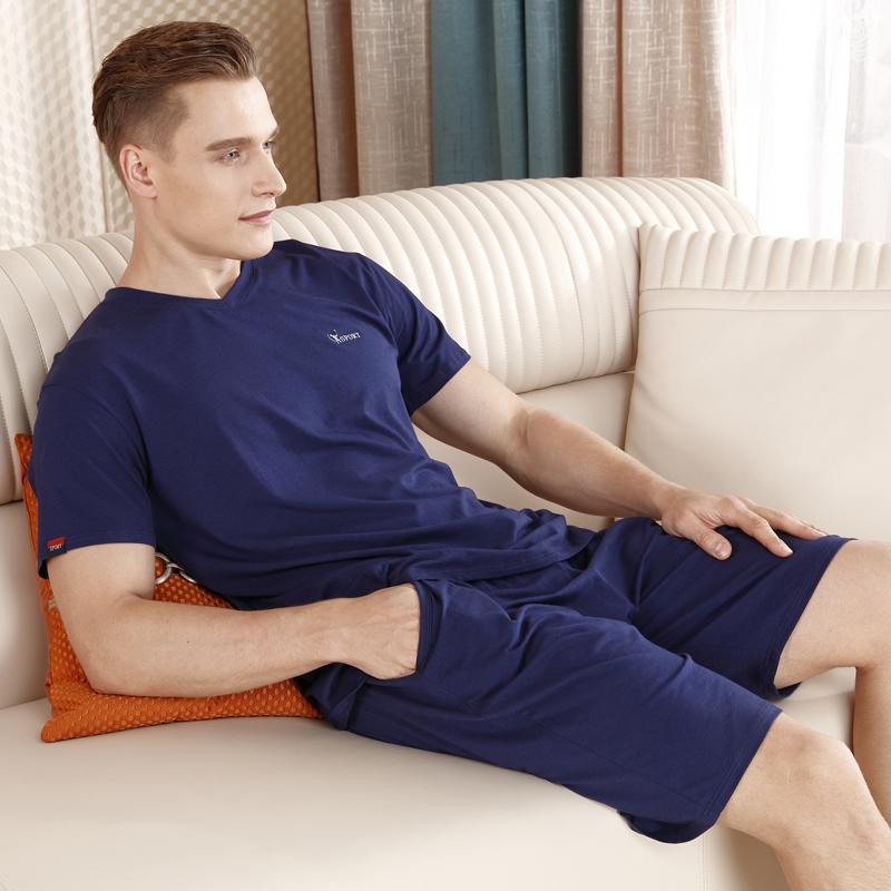 短袖短裤睡衣男套装莫代尔纯色棉质夏天家居服加肥大码青年中老年