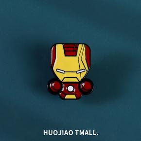 漫威复仇者联盟美国队长超人合金胸针男女潮钢铁侠徽章包包配饰品