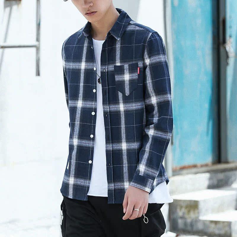 (今日下单99元)秋季长袖衬衫男士韩版休闲衬衣男生宽松格子外套