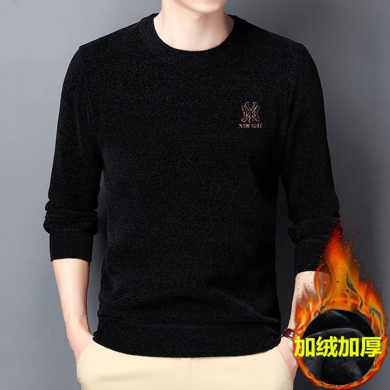 Counter authentic chenille winter Plush sweater mens long sleeve T-shirt warm woolen top