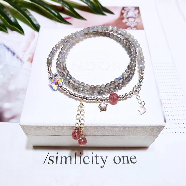 Manufacturers natural grey moonlight Three Circle Bracelet with 925 silver stars and elongated Crystal Bracelet