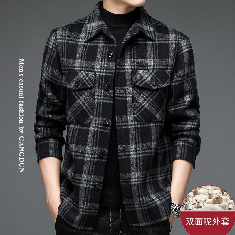 Hot selling high-grade 2021 autumn and winter wool coat mens double-sided cloth shirt jacket fashion Lapel woolen worker