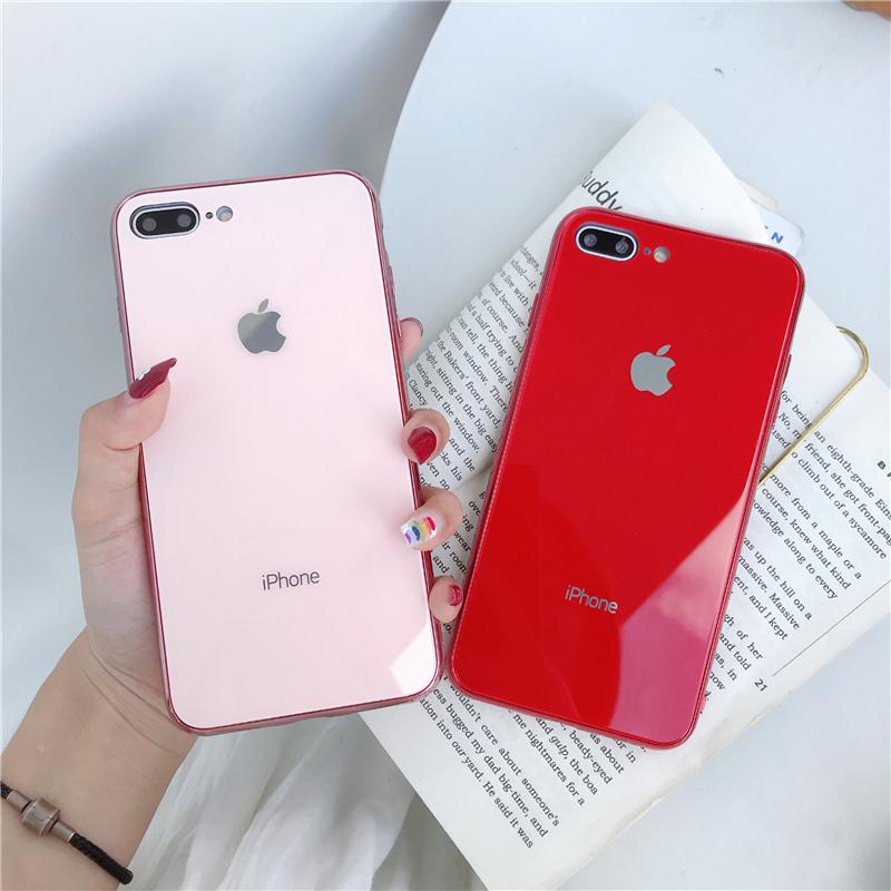 网红款iPhone XS Max手机壳个性简约7plus全包软壳适用苹果XR玻璃壳玫瑰金6S防摔潮女款XS保护套8P手机套SE2