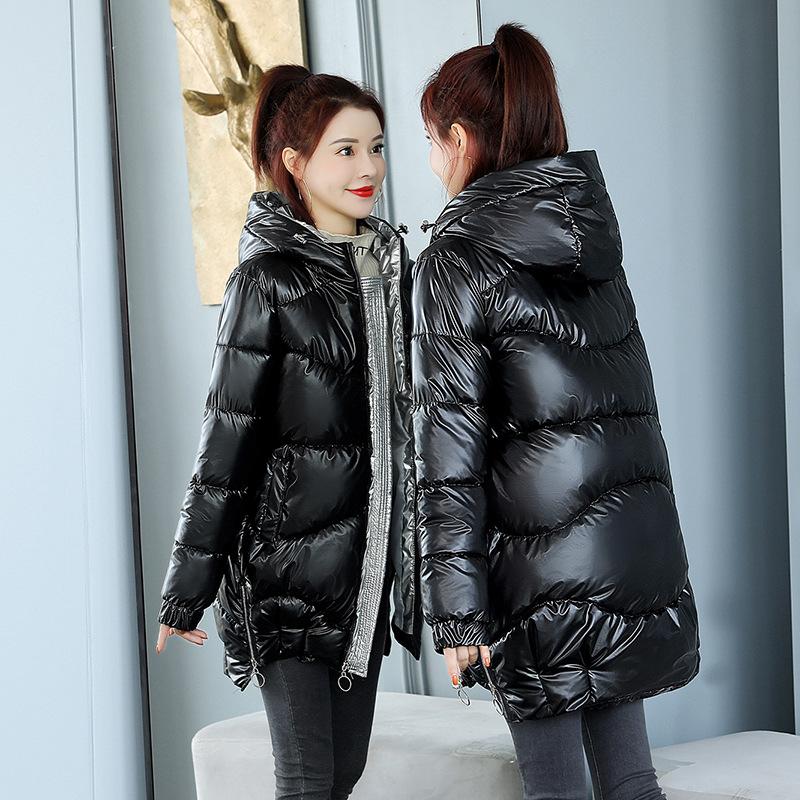 棉衣女2020冬新款韩版羽绒棉服中长款亮面宽松连帽加厚棉袄外套