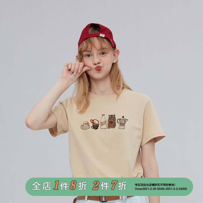 原创设计印花卡其色女短袖可爱t恤