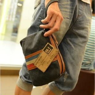 包日韩钱包撞色简约手拿小包包街头潮流手机帆布男女迷你手包英伦
