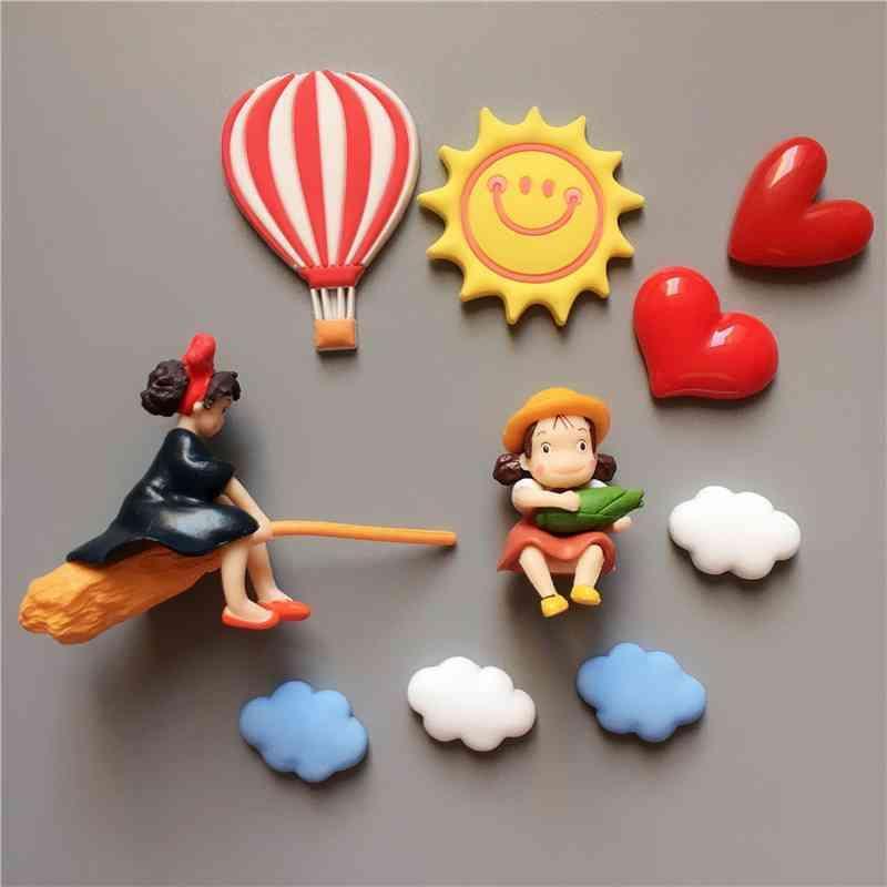 Cartoon three-dimensional cute and playful Miyazaki series magic girl house emergency little girl Qiqi refrigerator paste magnetic paste