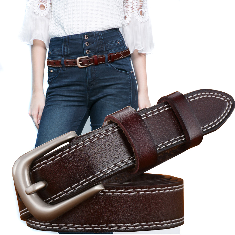 Womens black belt simple and versatile student cool ins style Korean fashion decoration casual jeans thin belt