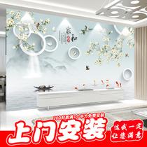 8d电视背景墙壁纸3d大气现代简约家和墙纸影视墙装饰客厅定制壁画