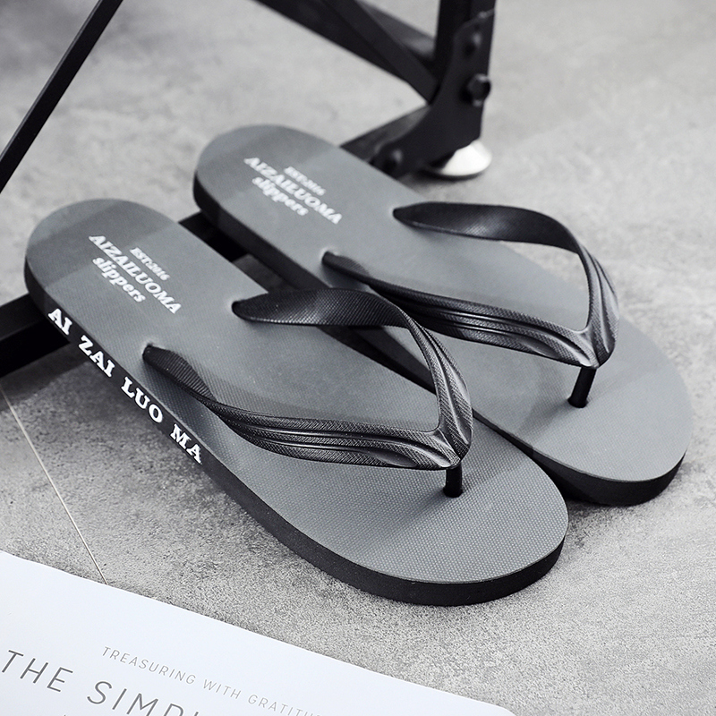 Flip flop men's summer personality Korean version anti slip wear fashion clip foot beach slippers plywood leisure outdoor cool drag