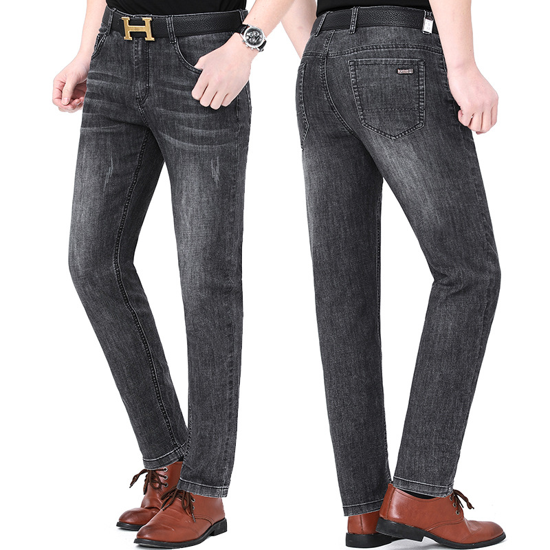 New product 2021 huagongzi mens jeans straight tube middle-aged fashion new business leisure pants package