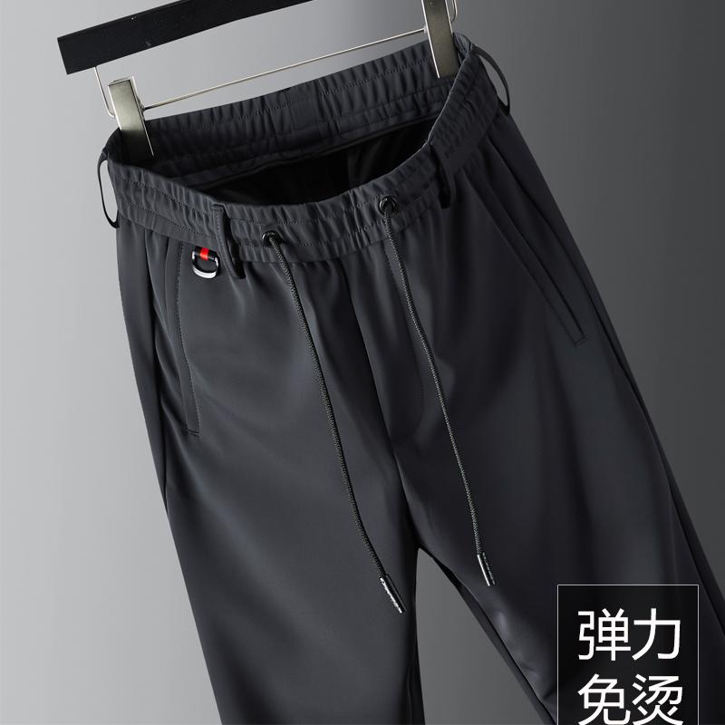 高端丝绸感休闲男裤抗皱垂感宽松直筒运动裤男士大码灰色长裤子男