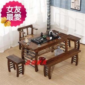 办公室茶6桌椅组合带沙发茶桌椅老船木置物r架几类卧室组合小户型
