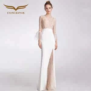 白色狐礼服主持人女创意长款连衣裙