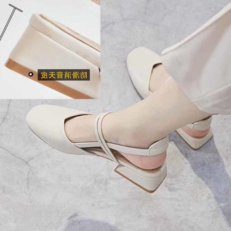 包头凉鞋女夏中跟2019新款韩版百搭学生仙女风复古粗跟一字带单鞋