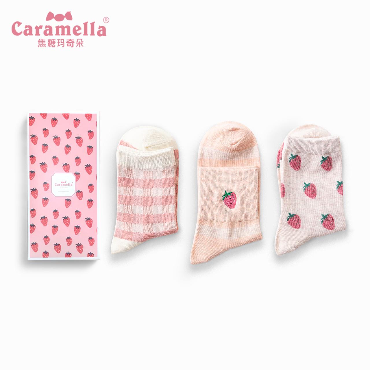CARAMELLA袜子女春夏卡通中筒棉袜刺绣长筒韩版学院风日系潮棉袜