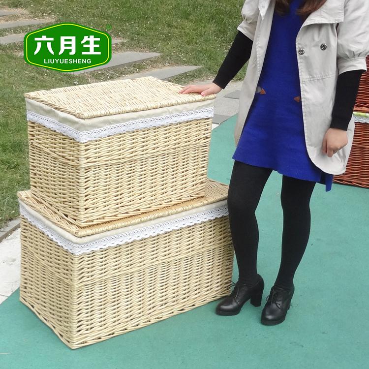 六月生藤编收纳箱衣物宜家田园风布艺收纳筐被子特大号整理箱有盖