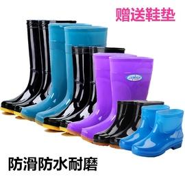 农民泥工带绒水鞋女胶鞋雨靴便携筒靴时尚塑料短靴子矮帮低筒低邦
