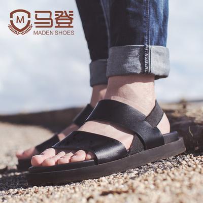 马登清仓男士凉鞋夏季凉鞋男真皮软底沙滩鞋原宿风休闲凉鞋男鞋潮