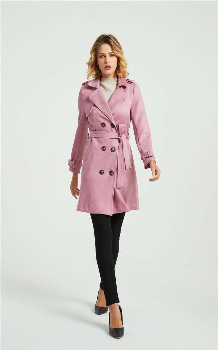 New Korean suede windbreaker overcoat for womens wear in autumn, winter and spring of 2020