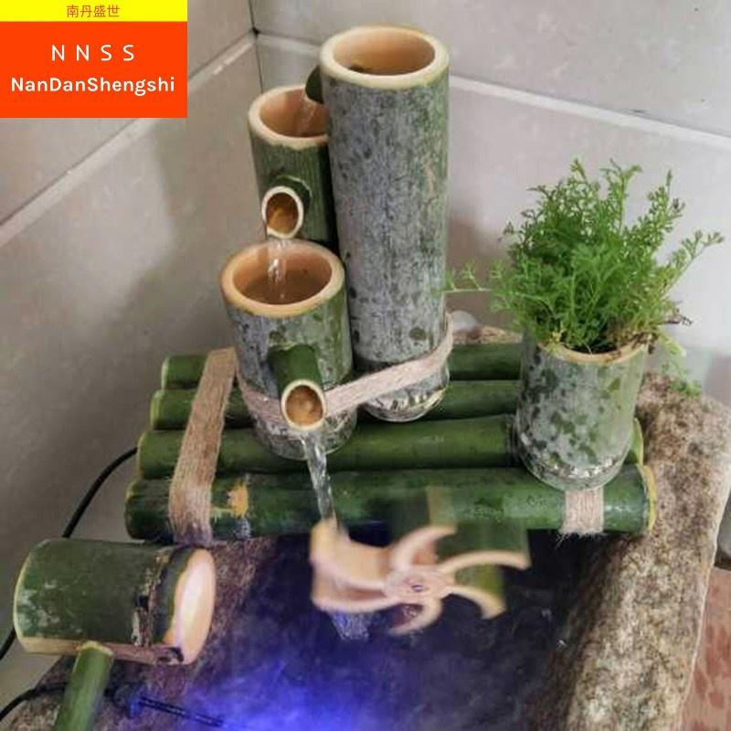 新品竹子流水 竹筒流水器 鱼缸石槽鱼池装饰摆件 竹子过滤器。
