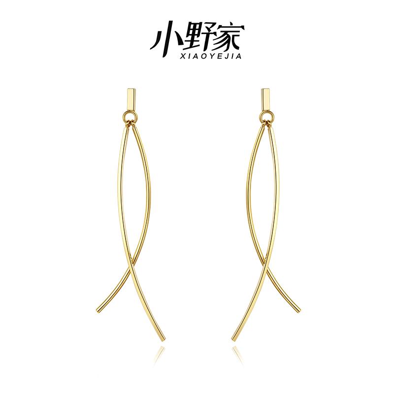 Ono family Earrings femininity long ear clip simple long cold port style no ear hole painless minority design