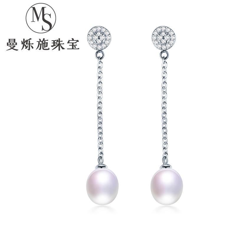 Manshuoshi Pearl Earrings womens fashion 925 pure silver earrings earrings real silver pearl earrings